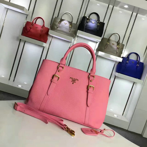 2016 Cheap Prada Grainy Calf Leather Tote BN2527 in Pink