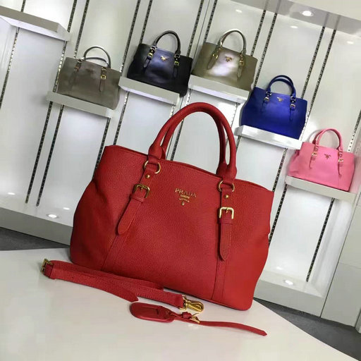 2016 Cheap Prada Grainy Calf Leather Tote BN2527 in Red