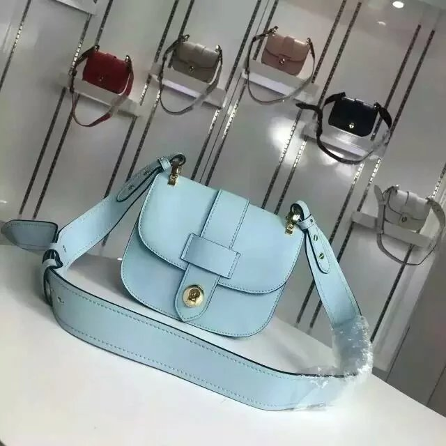2016 Fall/Winter Prada Pionnière Calf Leather Bag Light Blue with lace closure