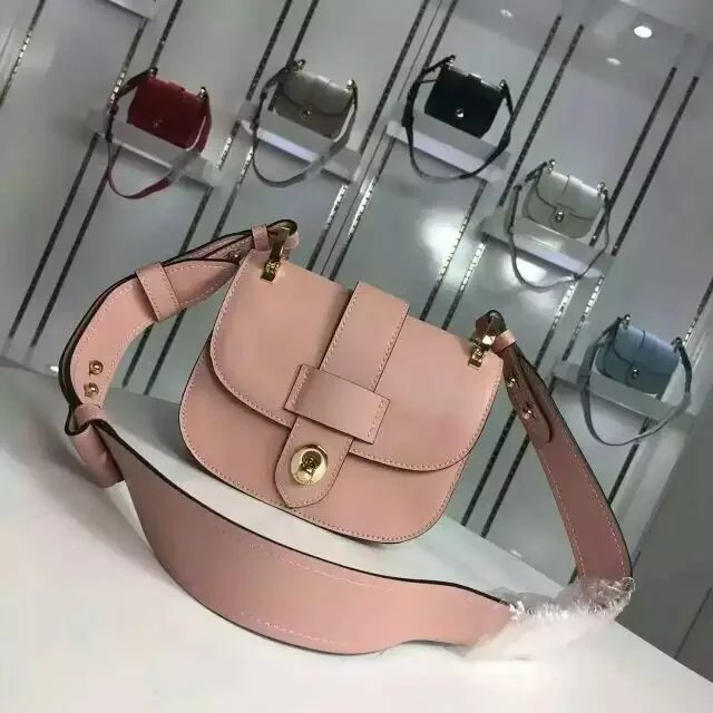 2016 Fall/Winter Prada Pionnière Calf Leather Bag Pink with lace closure