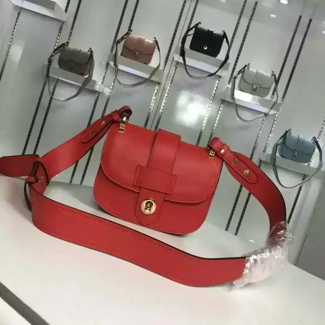 2016 Fall/Winter Prada Pionnière Calf Leather Bag Red with lace closure