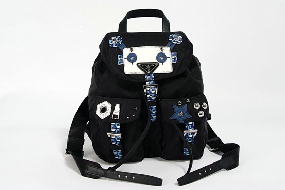 2016 A/W Prada Fabric Backpack 1BZ677 with Robot motif leather and metal appliqués