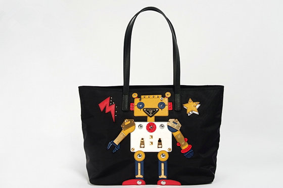 2016 A/W Prada Fabric Tote with Robot motif leather and metal appliqués