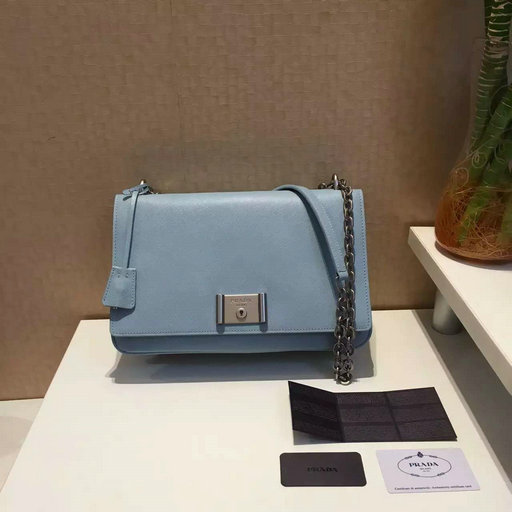 2016 Spring Prada Saffiano Leather Shoulder Bag in Pale Blue