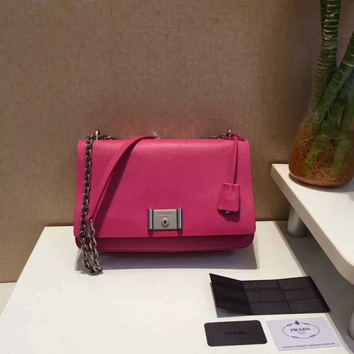 2016 Spring Prada Saffiano Leather Shoulder Bag in Peony Pink