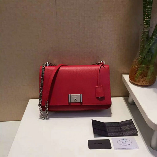 2016 Spring Prada Saffiano Leather Shoulder Bag in Red