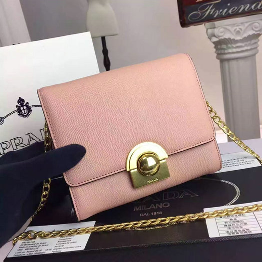 2016 A/W Prada Saffiano Leather Shoulder Bag 1BH007 in Pink