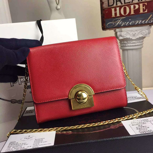 2016 A/W Prada Saffiano Leather Shoulder Bag 1BH007 in Red
