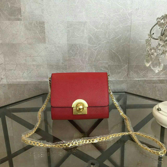 2016 Latest Prada Small Shoulder Bag 1BH007 Red Saffiano Leather