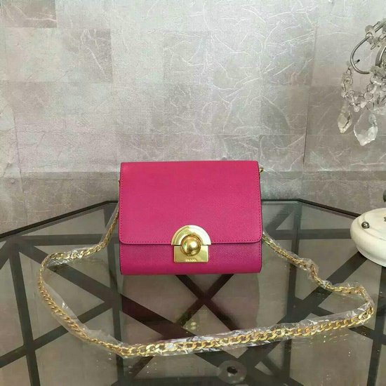 2016 Latest Prada Small Shoulder Bag 1BH007 Peony Pink Saffiano Leather