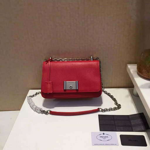 2016 Spring Prada Small Saffiano Leather Shoulder Bag in Red