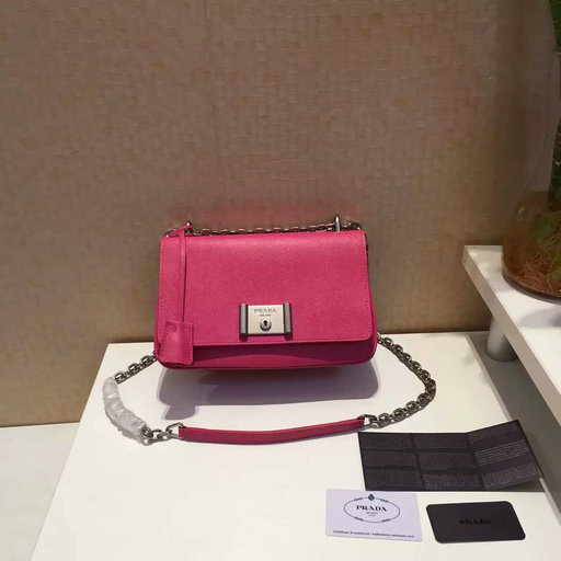 2016 Spring Prada Small Saffiano Leather Shoulder Bag in Peony Pink