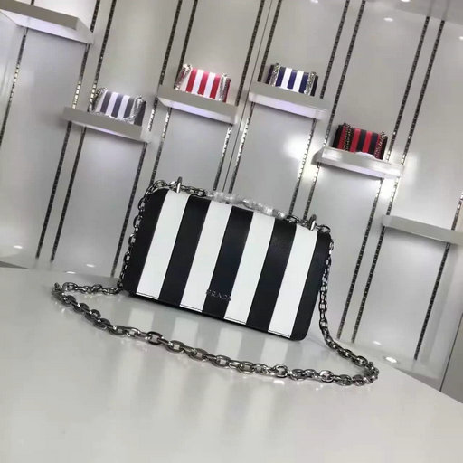 2016 A/W Prada Black+White Vertical Stripe Motif Shoulder Bag in Saffiano Leather