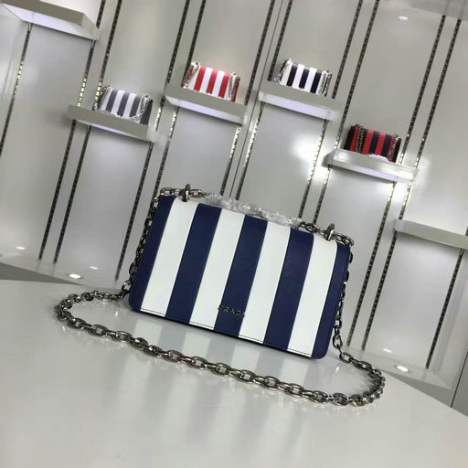2016 A/W Prada Baltic Blue+White Vertical Stripe Motif Shoulder Bag in Saffiano Leather