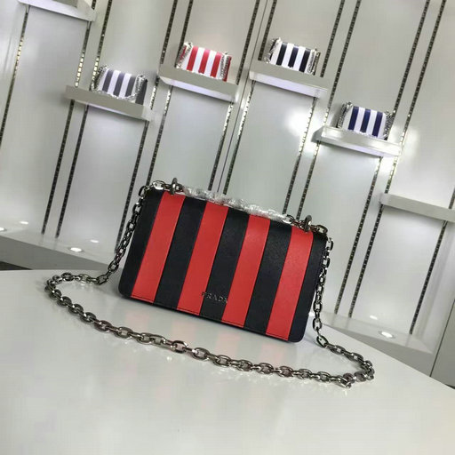 2016 A/W Prada Red+Black Vertical Stripe Motif Shoulder Bag in Saffiano Leather