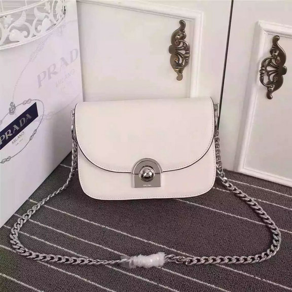 2016 New Prada Arcade Shoulder Bag in White Calf Leather