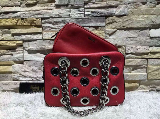 2016 S/S Prada Top Handle Bag Red with grommet detail