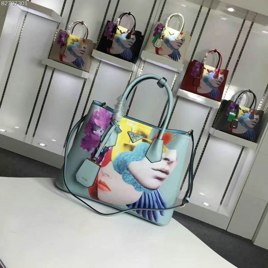 2016 A/W Prada Collage-Print Saffiano Leather Double Bag BN2756