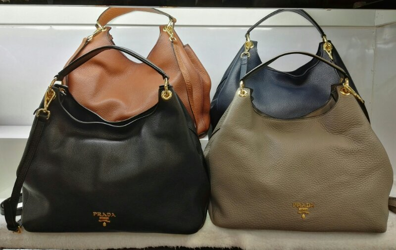 2017 New Prada Calf Leather Hobo Bag