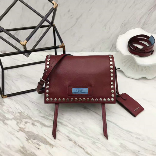 2017 New Prada Etiquette Calf Leather Bag Burgundy with metal stud trim