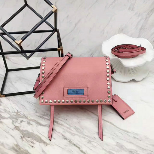 2017 New Prada Etiquette Calf Leather Bag Pink with metal stud trim