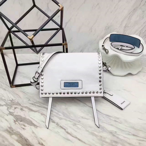 2017 New Prada Etiquette Calf Leather Bag White with metal stud trim