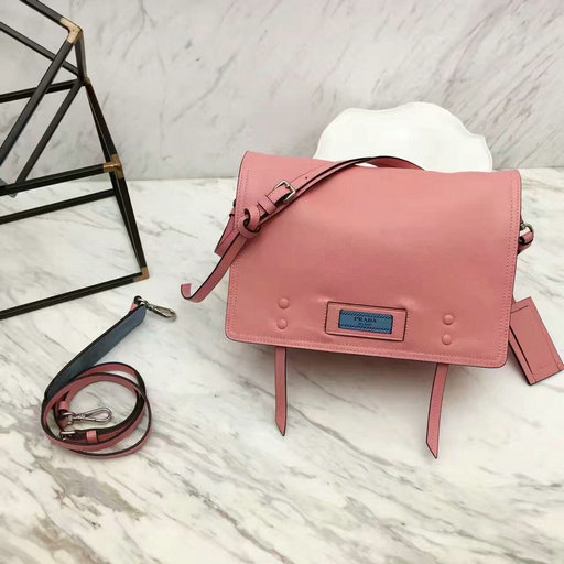 2017 New Prada Etiquette Calf Leather Shoulder Bag in Pink/Astral Blue