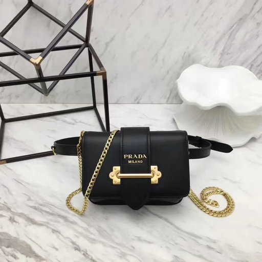 2017 New Prada Cahier Calf Leather Belt Bag in Black
