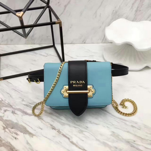2017 New Prada Cahier Calf Leather Belt Bag in Light Blue+Black