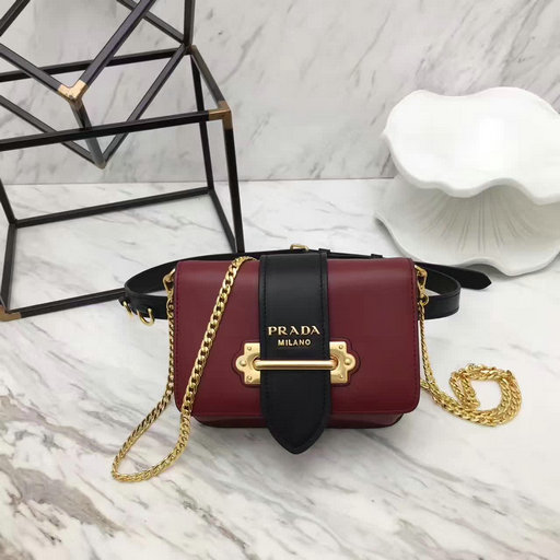 2017 New Prada Cahier Calf Leather Belt in Burgundy+Black