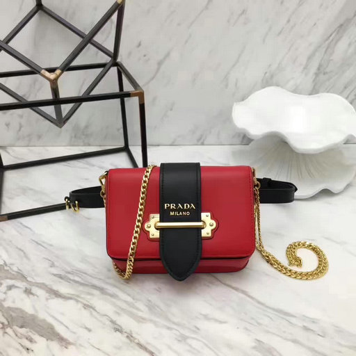 2017 New Prada Cahier Calf Leather Fanny Pack in Red+Black