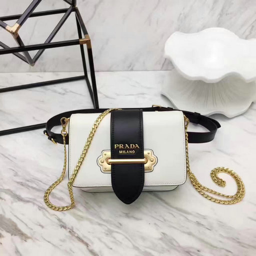2017 New Prada Cahier Calf Leather Belt Bag in White+Black