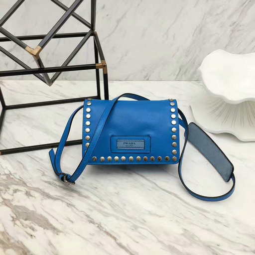 2017 New Prada Small Etiquette Calf Leather Bag Blue with metal stud trim