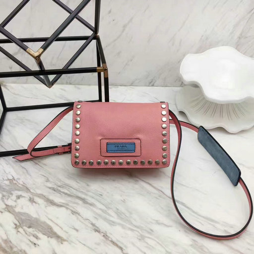 2017 New Prada Small Etiquette Calf Leather Bag Pink with metal stud trim