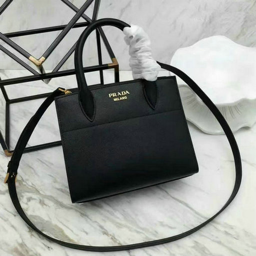 fba373f80c7d81 2017 Spring Prada Black+Red Leather Bibliothèque Bag with bellow sides  larger image