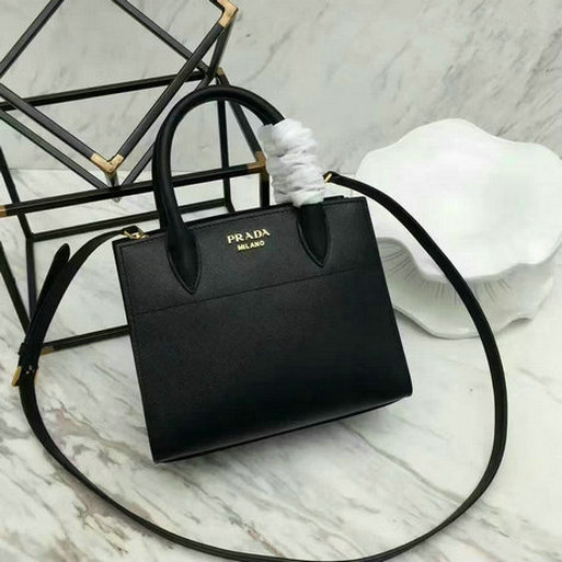 2017 Spring Prada Black+White Leather Bibliothèque Bag with bellow sides
