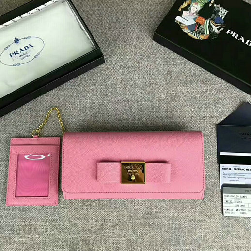 2017 New Prada Saffiano Leather Metal Bow Wallet 1MH132 in Pink