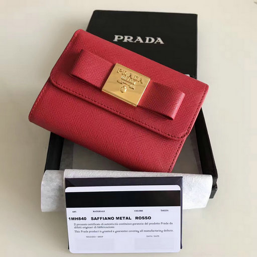 2017 New Prada Saffiano Leather Metal Bow Wallet in Red