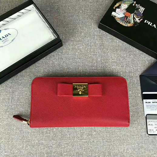 2017 Prada Saffiano Leather Metal Bow Zip Wallet in Red