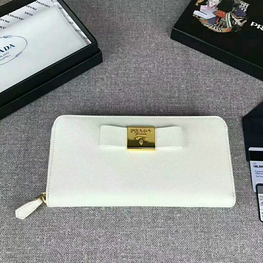 2017 Prada Saffiano Leather Metal Bow Zip Wallet in White