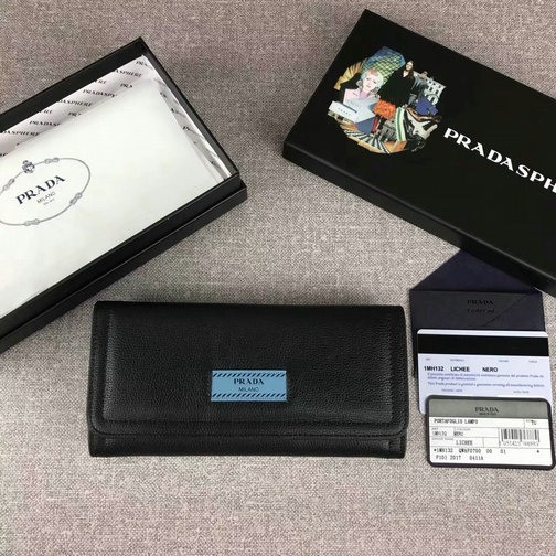 2017 New Prada Etiquette Flap Wallet in Black/Astral Blue Leather