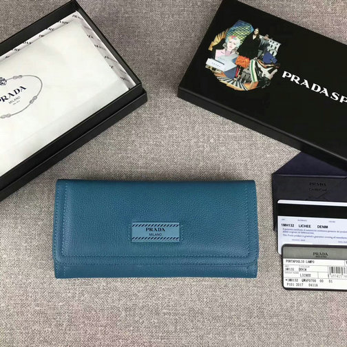 2017 New Prada Etiquette Flap Wallet in Cobalt Blue/Astral Blue Leather