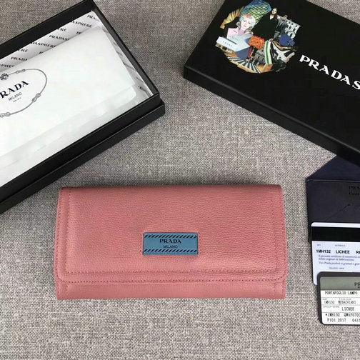 7e9a5795002068 2017 New Prada Etiquette Flap Wallet in Lotus/Astral Blue Leather larger  image