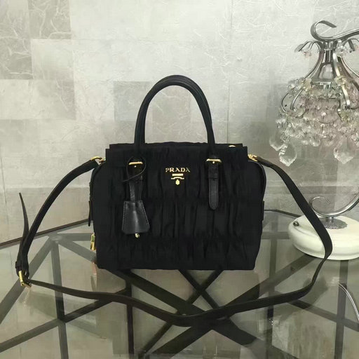 2017 Spring Summer Prada Gaufre Fabric Bag in Black