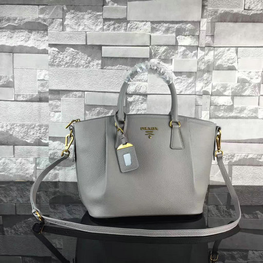2017 New Prada Grained Leather Bag in Grey