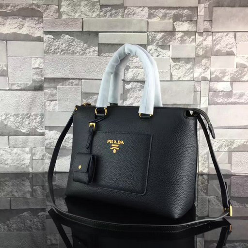 2017 Spring Prada Grainy Calf Leather Tote Bag 1BA063 in Black