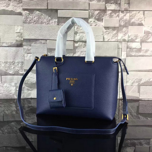 2017 Spring Prada Grainy Calf Leather Tote Bag 1BA063 in Blue