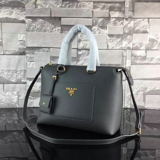 2017 Spring Prada Grainy Calf Leather Tote Bag 1BA063 in Dark Anthracite