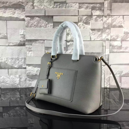 2017 Spring Prada Grainy Calf Leather Tote Bag 1BA063 in Grey