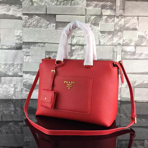 2017 Spring Prada Grainy Calf Leather Tote Bag 1BA063 in Red